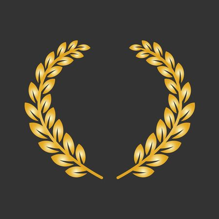 Golden laurel wreath on a dark background. Banque d'images - 131364839