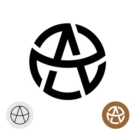 Letter A in a round celtic tattoo style logo. Anarchy stylized symbol. Satan devil sign.