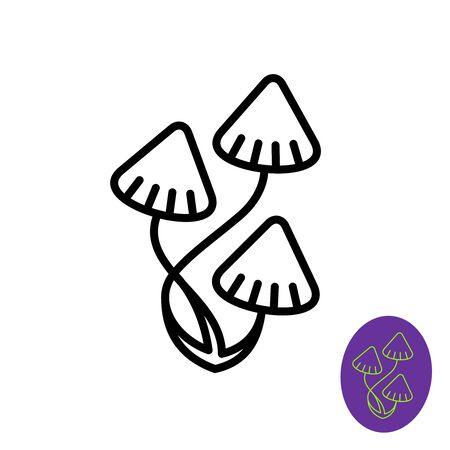 Magic Psilocybe mushrooms logo. Adjustable stroke width.