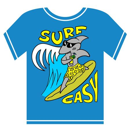 Surfing kids t-shirt illustration. Cool shark boy in glasses and beach shorts with cocktail riding on a board with big ocean wave behind. Tee shirt vector design.