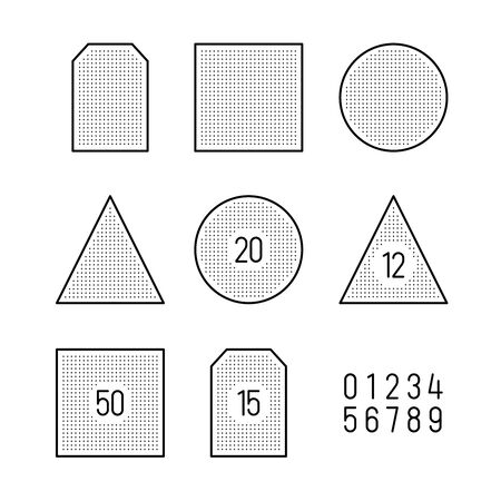 Tea bags shape templates for packaging design. Number of bags in a pack. Adjustable stroke width.