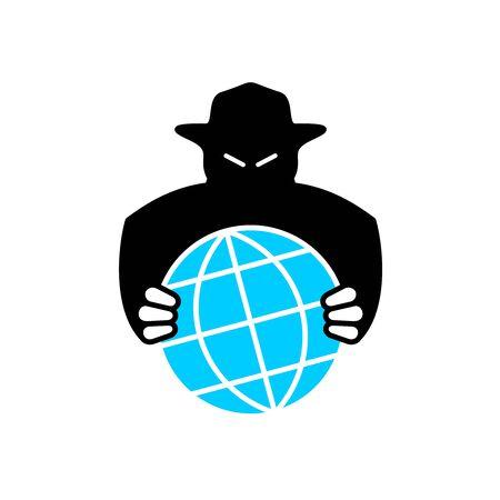 World aggressor symbol. Black silhouette of unknown evil person grabbing the Earth globe. World conspiracy.