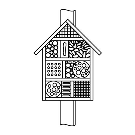 Insect house line style illustration. Bugs and bees hotel symbol. Adjustable stroke width.