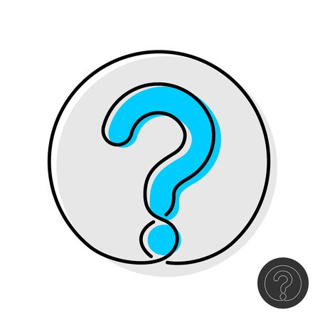Question mark icon. Thin mono line design style question symbol in a round badge. Adjustable stroke width.