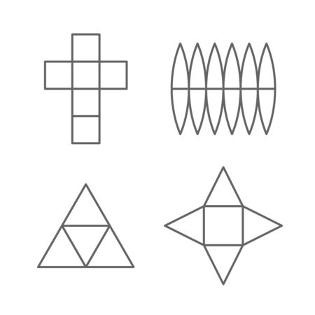 Set of 3D fugure shapes on a plane. Line drawing planar projections of a cube, sphere, prism and pyramid. Unwrapping contours of 3D objects. Adjustable stroke width.