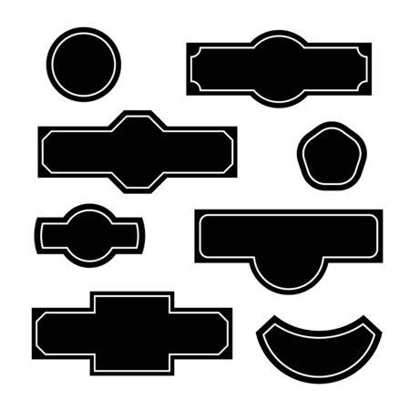 Set of bottle sticker badges or house street address plate templates. Adjustable stroke width.