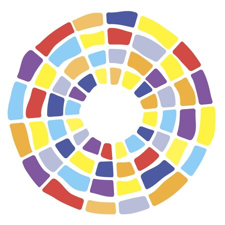 Colorful segmented concentric circles symbol. Suitable for background design. Random colors brick tiles round figure.