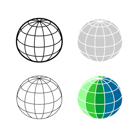 Earth globe 3D mesh model icon. Ball sphere perspective wireframe view illustration. Adjustable stroke width.