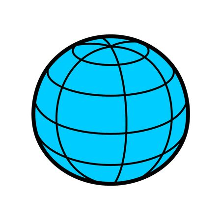 Earth globe sphere 3D illustration with wireframe lines. Blue planet perspective view symbol. Adjustable stroke width.
