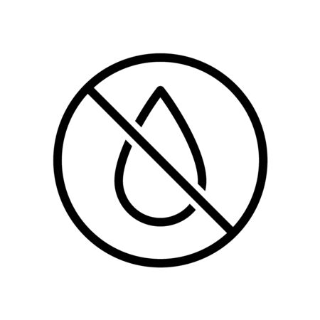 No water drop line style icon. Liquids are prohibited. Not a waterproof characteristic symbol. Adjustable stroke width.