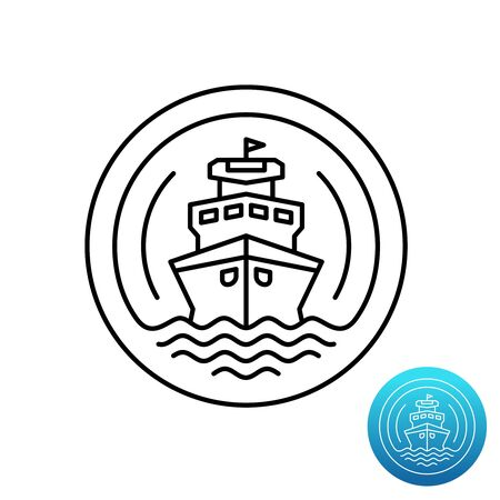Ship cruise logo. Sea shipping line symbol. Nautical industry sign. Adjustable stroke width.