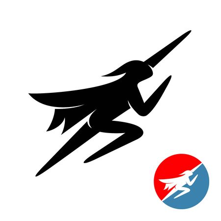 Flying superhero man logo. Human black silhouette fly up with hand forward. Sport super hero in a cape and a mask.