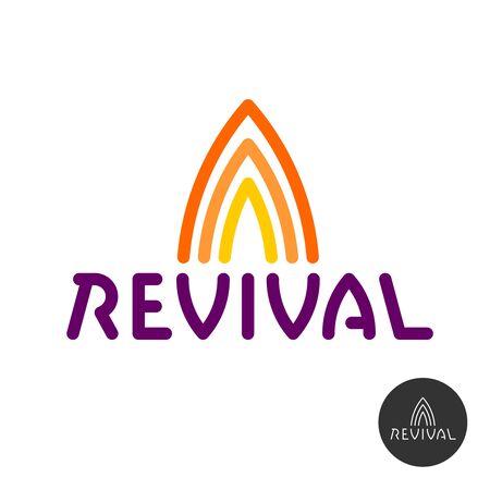Revival text logo with fire symbols above. Adjustable stroke width. Stock Illustratie
