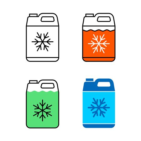 Car coolant canister icon. Motor antifreeze jerrycan symbol. Adjustable stroke width. Vector Illustration
