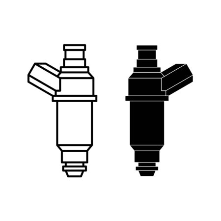 Car fuel injector illustration. Engine injection element. Line style and silhouette versions. Adjustable stroke width. Ilustração