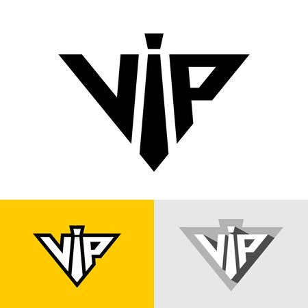 VIP service logo abbreviation. Neck tie as letter I. Triangle luxury symbol. Special account icon.