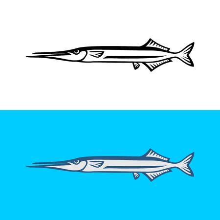 Garfish illustration isolated on white background. Gar fish logo template.