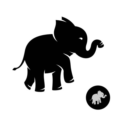 Cute small elephant baby stylized logo. Black silhouette of an elephant with trunk up.