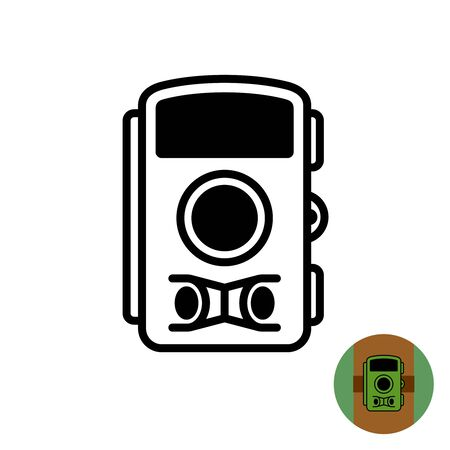 Hunting trap photo camera symbol. Forest tree mount video and photo registration recorder for catching wild animals. Adjustable stroke width. Ilustração