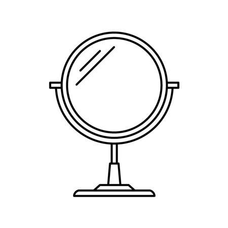 Round makeup cosmetic mirror symbol. Thin line icon. Adjustable stroke width.