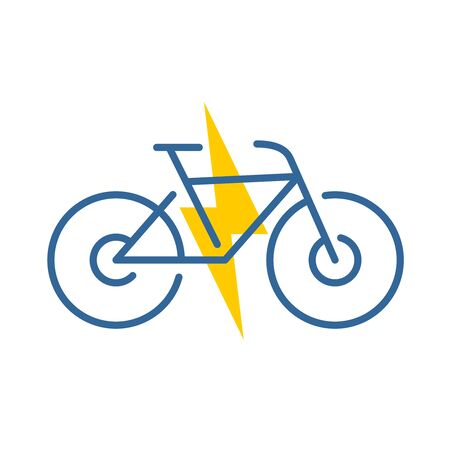 Electric bike logo. Electricity driven bicycle color icon. Thin line style symbol with bolt. Adjustable stroke width.