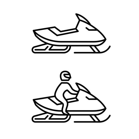 Snowmobile with man driving and no man sign. Side view snow mobile line style logo. Adjustable stroke width. Illusztráció