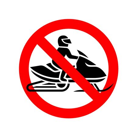 Snowmobiles are prohibited sign. No snow mobile riding round symbol.