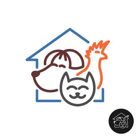 Pet hotel logo. Friend animals in a house. Dog, cat and parrot symbols. Adjustable stroke width. Ilustração