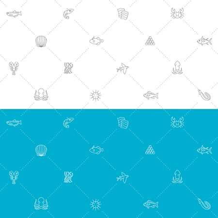 Seafood seamless pattern. Blue, white and gray colors grid background. Sea food industry symbols.