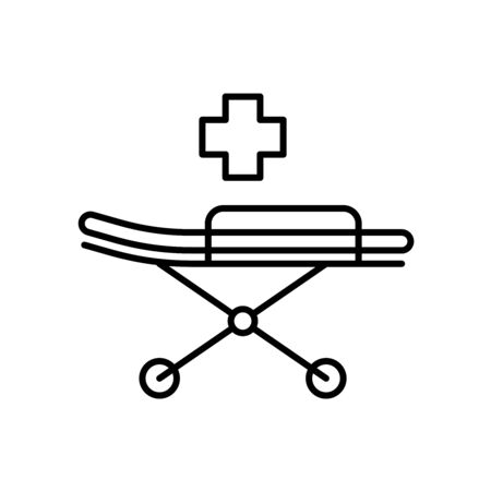Medical stretcher with bed and mat icon. Emergency equipment. Adjustable stroke width.