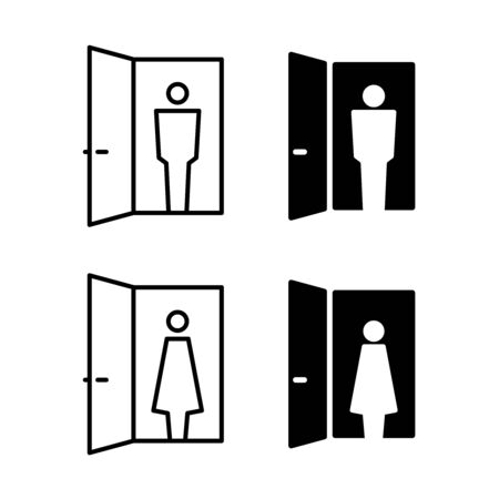 Visitor icon. Person in a door frame silhouette. Woman and man. Adjustable stroke width. Ilustração