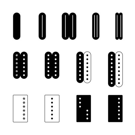 Electric guitar pickups set. Different types of musical equipment parts. Adjustable stroke width.