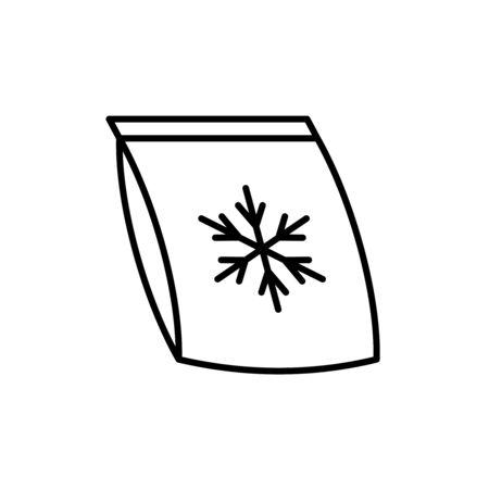 Frozen food bag icon. Plastic bag with snowflake symbol. Adjustable stroke width.