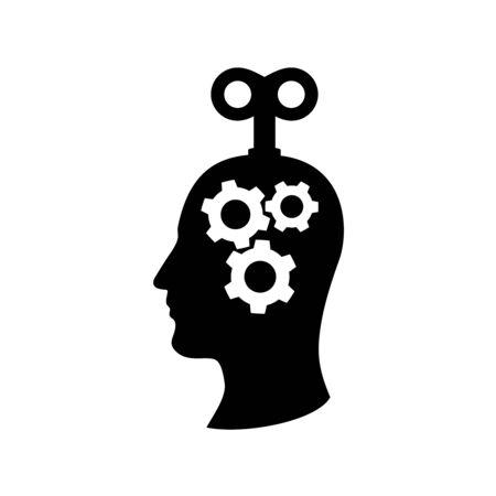 Clockwork head of a man with cogs mechanism inside. Winding key in human head symbol. Vettoriali