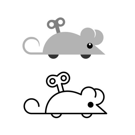 Clockwork mouse toy icon. Mechanical mice side view silhouette. Winding key in a cartoon mouse back. Adjustable stroke width. Vettoriali