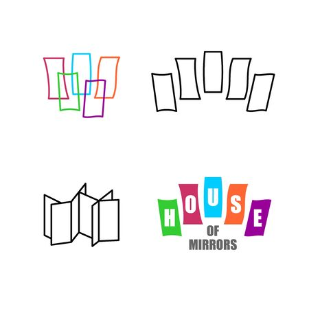 House of mirrors logo set. Funhouse with mirrors symbols. Adjustable stroke width.