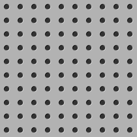 Peg board seamless pattern texture. Perforated wall background. Gray board with holes.