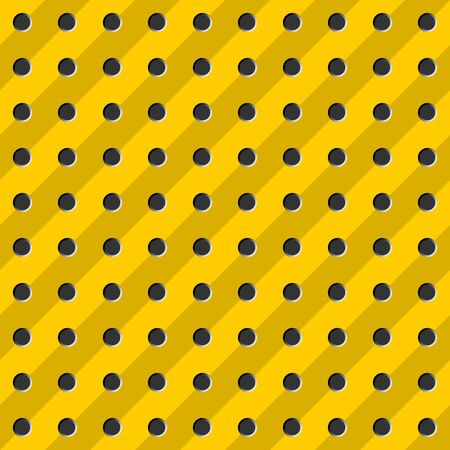 Peg board seamless pattern texture. Perforated wall for tools background. Yellow diagonal striped board with holes. Construction theme wallpaper. Vettoriali