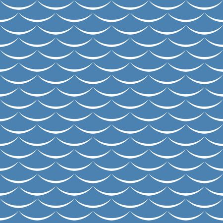 Sea waves blue and white seamless pattern background. Fish scales texture.
