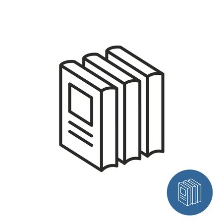 Stack of books standing. Print circulation icon. Printing run symbol. Three similsr books together. Adjustable stroke width.
