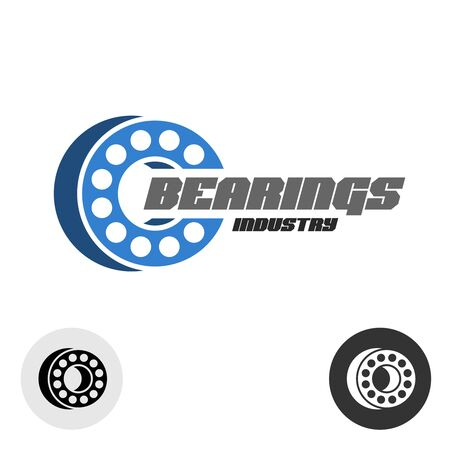 Bearings industry logo with text. Ball bearings 3D perspective sign.