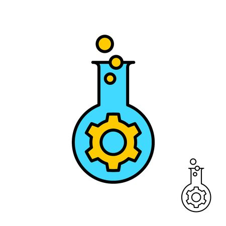 Bio engineering and technology logo with mechanical gear and chemical flask with bubbles. Adjustable stroke width. Vettoriali