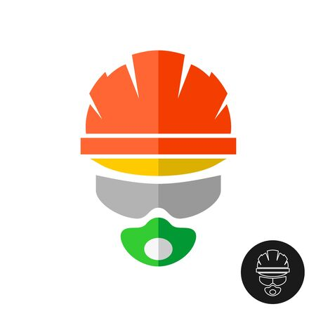 Builder in a protective helmet hat, glasses and respirator. Construction worker logo. Mechanic in a head and face protection outfit sign. Logo