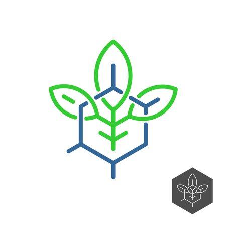 Biochemical industry logo. Plant leaves with chemical hex formula base grid. Adjustable stroke width.