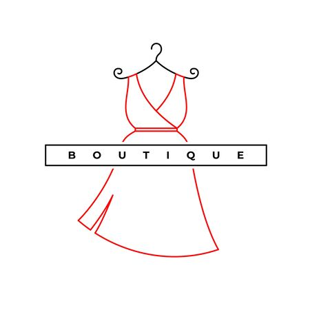 Elegant woman dress logo. Fashion shop symbol. Stylish boutique sign. Adjustable stroke width.