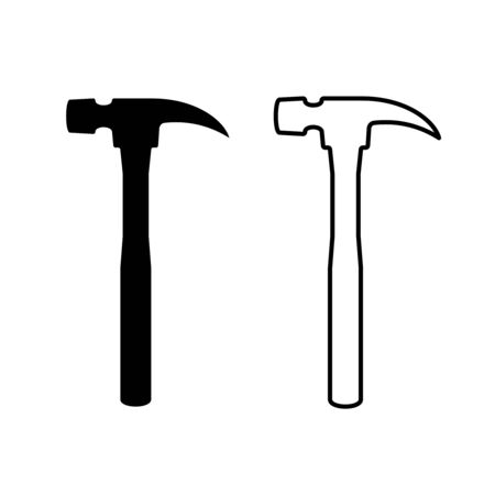 Hand hammer black and line silhouette. Hand fix tool vertical illustration.