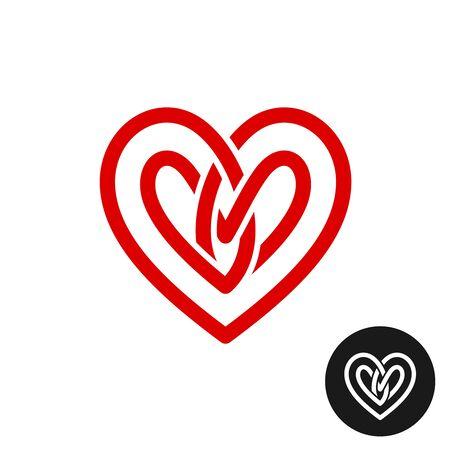 Heart celtic style knot logo. Infinite loop wide stripe love symbol. Weave ribbon sign.
