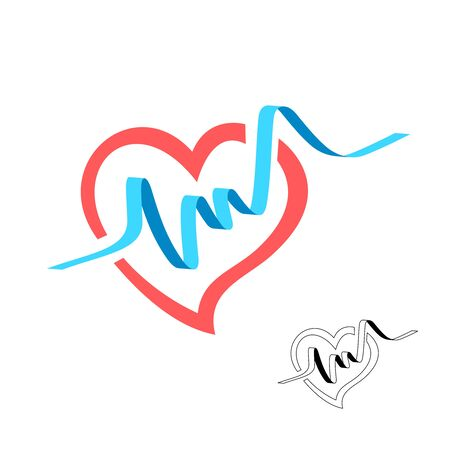 Heart shape with blue pulse beat wide line graph. Medical EKG symbol. Healthy heart logo. Vettoriali