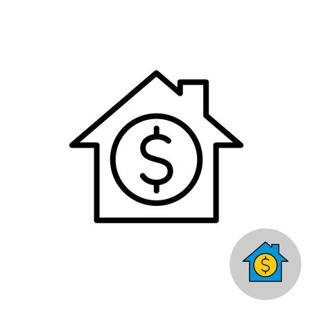 Money house icon. Real estate investment symbol. Housing price sign. Equity loans. Adjustable stroke width.