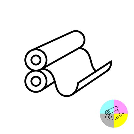 Printing rollers icon. 3D typography print symbol with round drums and paper sheet of newspaper or magazine. Adjustable stroke width.